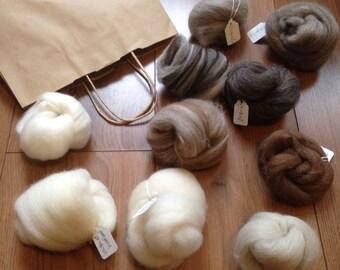 Sample Pack British Wool Roving  Felting Handspinning Pin Felting Fibre Selection Pack