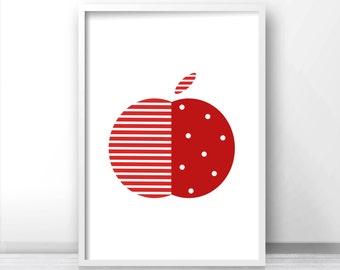 Modern Nursery Art, Kids Print, Printable Kids Art, Fruit Print, Instant Download Nursery Wall Art, Modern Kitchen Art Printable, Apple Art