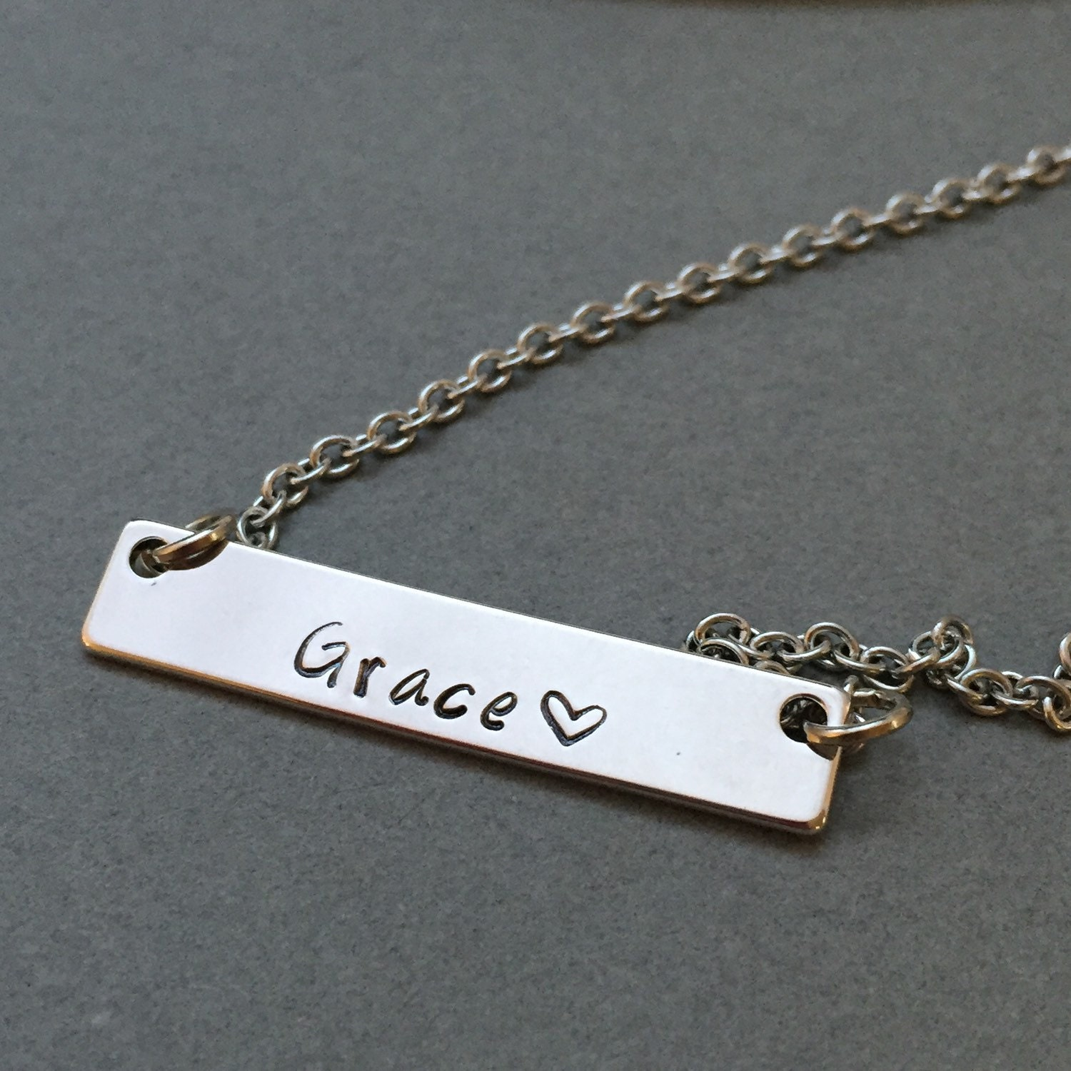 Silver bar necklace, personalized necklace, name necklace ...