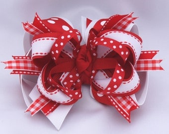 Red and White Super Hair Bow