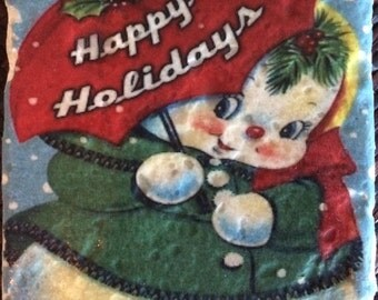 Vintage Happy Holidays Coaster