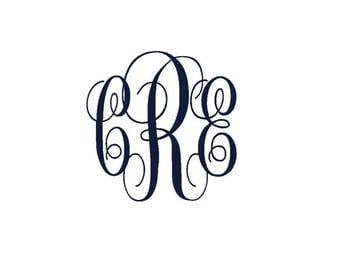Personalized Monogram Iron On Decal, Custom Iron On Letters, Iron On Vinyl Monogram, Iron on Monogram Initials