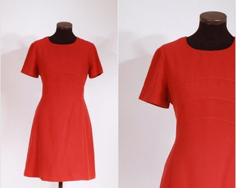 Vintage 1960s Pumpkin Colored Day Dress M