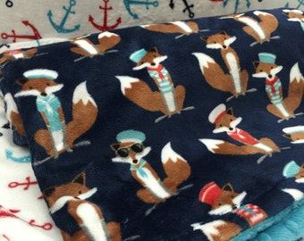 Nautical Baby Blanket, Anchors Foxes Minky Stroller Blanket Nautical Crib Blanket Baby Boy Shower Gift
