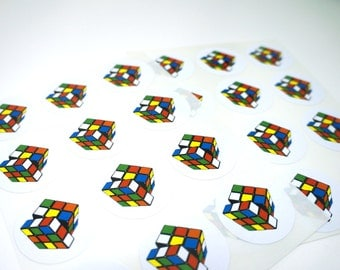 Retro Rubik's Cube Stickers, 24 Pack : FREE SHIPPING