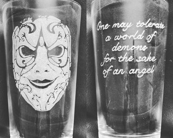 Hand etched pint glass inspired by Doctor Who