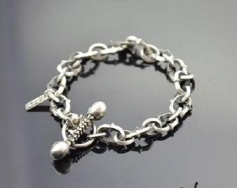 Bracelet with Skulls Silver