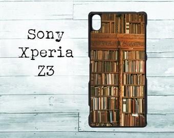 Vintage bookshelf phone cover - Sony Xperia Z3 case -old bookshelf readers Sony Xperia case, Sony Z3 cover
