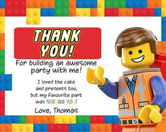 Customised Lego Birthday Thank You DIY Printable