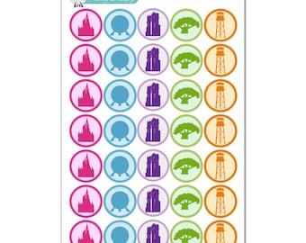 Walt Disney World Park Icon Silhouette Circle Stickers - Disney Planner Stickers