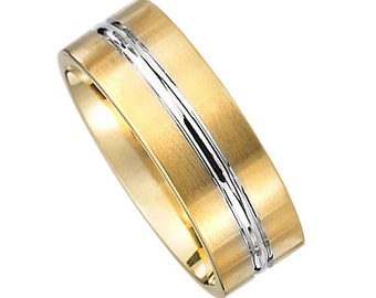 14k Two Tone Gold Dignified Wedding Band
