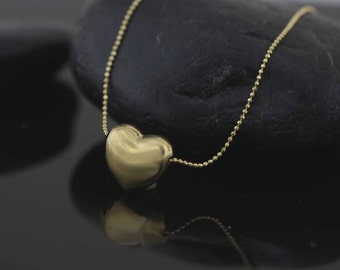 Sterling Silver Heart Necklace, Gold Over Silver  Heart Necklace, Modern Heart Silver Necklace in Gold Color, Puff Heart  Necklace