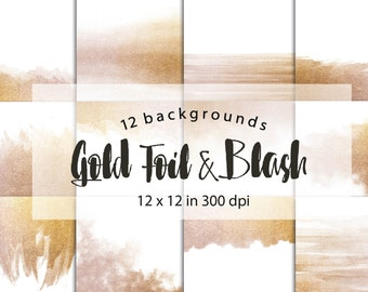 Digital papers Gold foil and blush, backgrounds, for personal and small commercial use