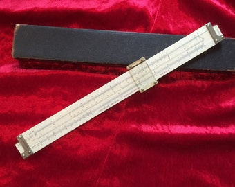 Vintage Slide Ruler - Keuffel & Esser Co.N.Y. - Industrial Desk Accessories - Model 4088-3 Slide Ruler with Leather Case- Plastic and Wood
