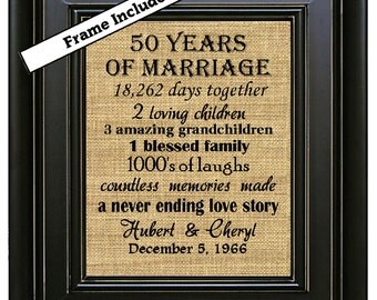 Gift Ideas For 50th Wedding Anniversary For Friends : framed 50th wedding anniversary 50th anniversary gifts 50th wedding ...