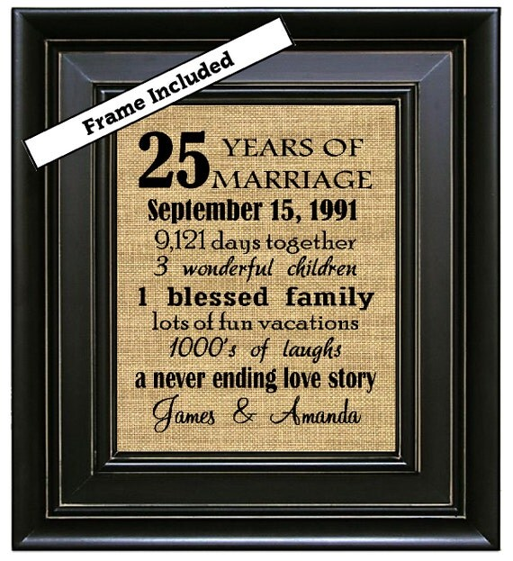 Wedding Gifts 25 Years : ... Gifts/25th Wedding Anniversary Gifts/25 years of Marriage/Burlap Wall