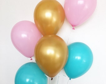 Blue Pink Gold Balloons Gender Reveal Balloons Gender Reveal Party Pink Blue Pink Balloons Blue Balloons Gold Balloons Flamingo Pool Party