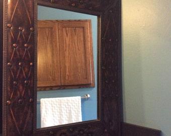 Beautiful chocolate brown leather mirror