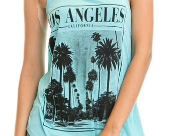 Women's Regular Los Angeles Palm Tree Image Print Tank Top  witha  Racerback and a scoop neck - Small ~ Large (pt-046-tp)