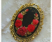 LRR1 Luxurious red roses brooch