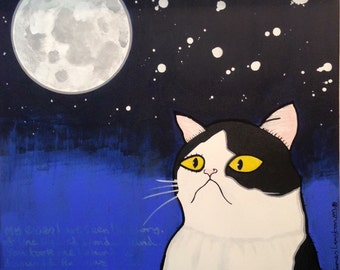 CAT and the MOON Original Painting