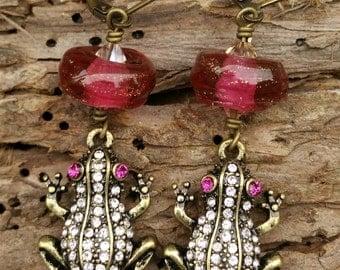 Frog Princess Lampwork Crystal Earrings