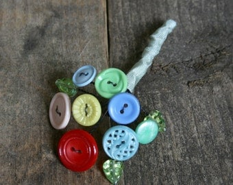 Button Bouquet Brooch, Button Hole Brooch, Button Brooch,  Pin with Vintage Buttons.