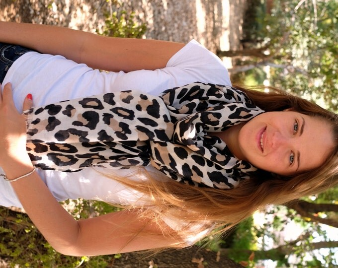 Leopard Scarf Brown Leopard Scarf Fall Scarf Fashion Scarf Women's Accessory Must Have Gift for Her Gift Idea Scarf Fringe Scarf Spots Scarf