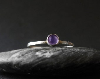 African Amethyst 3mm Cabochon Stacking Ring