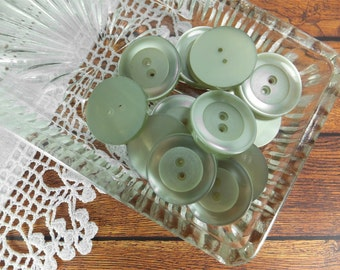 Green Buttons for Sewing  - 1 inch buttons - Large Buttons - Vintage Buttons Set of 12 Frosted/Semi Transluscent