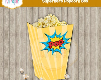 Popcorn Box Superhero-Pop-Superheroes-Popcorn Box-Candy Box-Power Box-Favor-Party Suplies-Party Decor