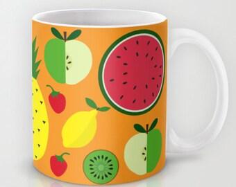 Fruits mug-Apples Mug-Orange mug-Pineapple mug-Tropical mug-Kiwi mug-Strawberry mug-Apple mug-Lemon-Coffee lover gift-Cool mug-Colourful mug