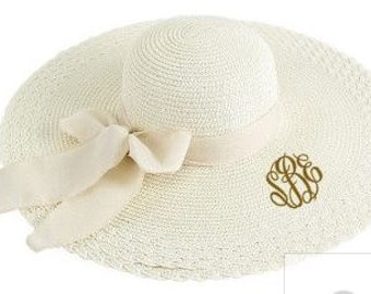 Monogram Ivory Floppy Beach Hat with Sheer Bow