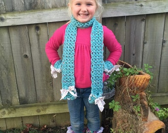 Crochet scarf with muff or cowl neck.