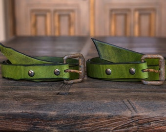 Green Leather Belt | Handmade in the USA | Handmade Leather Belts | Rust Buckle