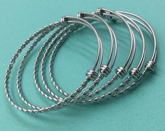 10pcs BRAIDED TWISTED Stainless Steel Adjustable Wire Bangle Bracelet 3 Loops Wrap Silver Tone