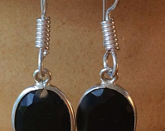 Unique Sterling Silver Black Onyx Earrings Dangle Beautiful - Natural Black Onyx Stone - Absolutely Gorgeous! Boho Chic Earrings