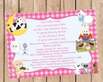 Girl Nursery Rhyme Invitation
