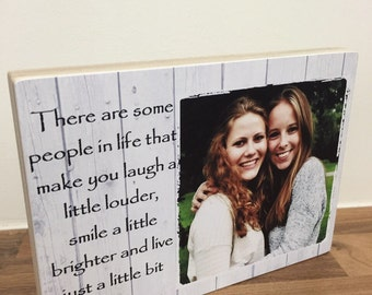 """Personalised Photo Block 7x5"""" with Friendship Quote Friend Birthday gift on wood"""