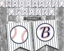 DIY Baseball Theme Party Decorations Banner White Blue Red Printable PDF Instant Download-Baseball Party