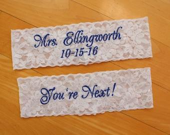 Garter Set or Single, Bride Wedding Garter,toss garter, custom embroidered, Custom Size Garter, white or ivory,bride gift. Canada GS0 S17