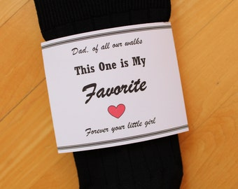 Wedding Sock WRAPPER, Sock Label, DYI Father of the Bride Gift, Dad Gift, Of all our walks, this one is my favorite, sock NOT included