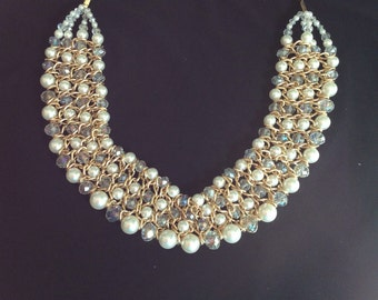 Handcrafter bib necklace gold pearls and crystal