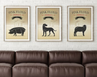 """Pink Floyd Three (3) Poster Print Set Inspired by the album, """"Animals:"""