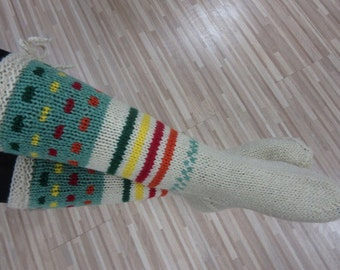 Knit Socks With stripes, Ecru Green Red Wool Socks, Size 40/41, Long wool socks,Women Socks, Men Socks, Christmas stocking
