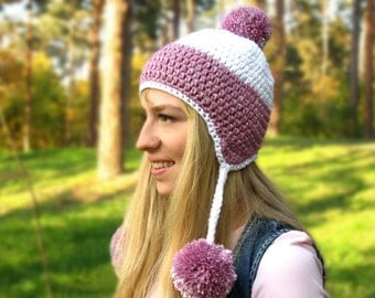 Womens Crochet Hat, Earflaps Beanie, White And Pink Hat, Pompom Hat, Size M\L, Teens Hat, Women's Hat, Fall Accessory, Ready To Ship
