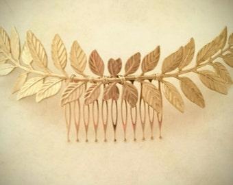 Large Laurel Leaf Hair Comb Gold Leaf Hair Comb Bridal Hair Comb Grecian Hair Wedding Hair Bridal Headpiece Greek Hair Accessories