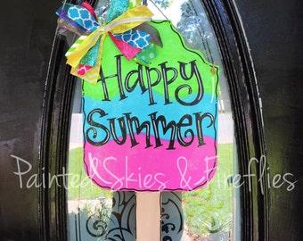 Summer Door Hanger / Popsicle Door Hanger / Wooden Door Hanger / happy summer / front door decor / outdoor decoration / summer decor / porch