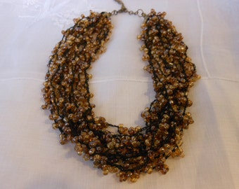 Vintage 1980s Amber Glass Bead and Silk Chord Necklace