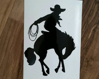 Cowboy and horse with lasso Decal, Rodeo Decal, Horse Decal, Cowboy Decal, Calf Roper